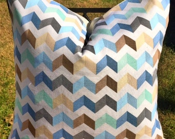 Powder Blue/Brown/Yellow Zig Zag-Brown Blue-Throw Pillow