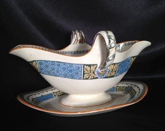 Antique Greek Ceramic Gravy Boat Sauciere,Greek Gravy Boat with attached platter,1930s Vintage Greek Gravy Boat