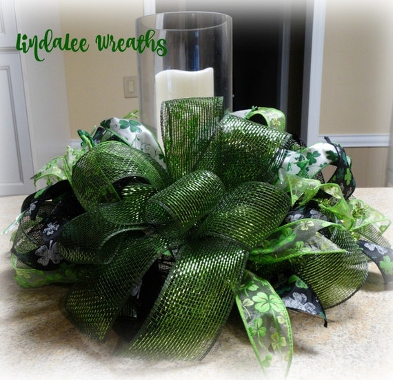 St. Patrick Day Deco Mesh Centerpiece St. Patty's Day