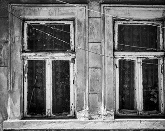 Old Windows, Vintage,  Black & White, Instant Download, Printable, Wall Decor