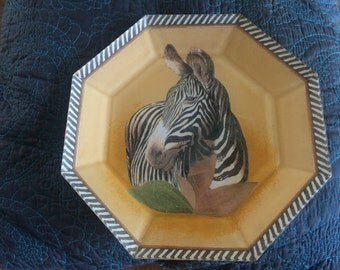 Zebra plate, animal print plate, unique plate, collectable, zebra plate, gift