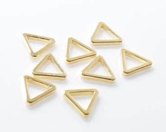 7.5MM Triangle Pendant, Triangle Bead. 16K Polished Gold Plated over Brass - 6pcs / BS0008-PG