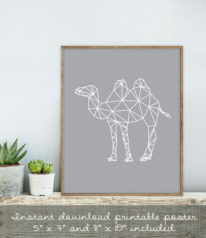 Geometric camel wall art print diy geometric polygon for Geometric wall art diy