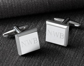 Engraved Mens Cufflinks - Personalized Modern Square Cuff Links