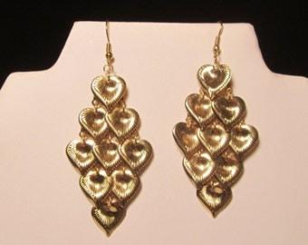 Dangling Goldtone Heart Earrings   (#232)