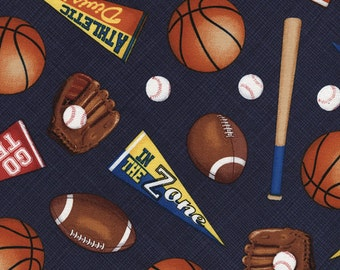 Sports - Mixed Sports Fabric - Navy - sold by the 1/2 yard