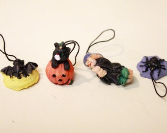 Set of 4 Vintage Halloween Ornaments/ Bat, Black Cat, Witch and Spider