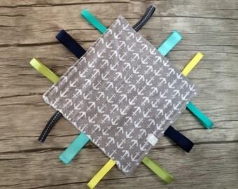 Baby Crinkle Taggie Square-Grey Anchors-Taggie Blanket- Sensory Blanket