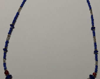Blue, silver and red beaded necklace