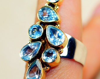 Blue Topaz & 925 Sterling Silver Ring size 6, 7 and 10