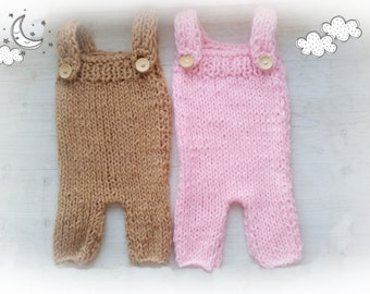 Baby Girl Knit Romper / Newborn Photo Props / Baby  Girl Outfit / Suspender Pants