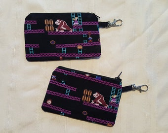 Old School Original Donkey Kong, Mario, and Peach change purse / wallet with keychain clip