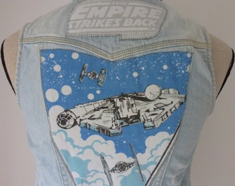 Star Wars inspired Empire Strikes Back reworked denim sleeveless jacket waistcoat top 1979 vintage fabric. C3PO R2D2. UK seller