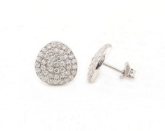 Sterling Silver Triangular Pave Disc Studs