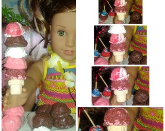 """Ice Cream Cones and Popsicles Fit's with American girl & 18 inch Doll's, AG Ice cream, AG Food, 18"""" Doll Food, Doll Food"""