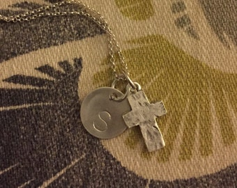 Cross Sterling Silver Necklace, Personalized