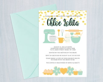 Cooking party invitation, cooking bridal shower invitation, cooking party, printable bridal shower invitation, bridal shower recipe