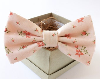 Peach and Coral Floral Bow Tie - Mens Pre-Tied Bow Tie - Womens Flower Bow Tie - Vintage Floral Bow Tie