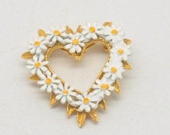 Vintage Daisy Heart Brooch