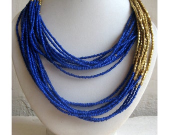 Long Royal Blue Beaded Necklace with Gold Beads/Handmade Jewelry/Statement Necklace/Multi Strand Necklace