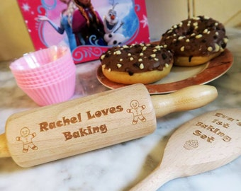 Personalised Children's Baking Set - Mini Wooden Spoon and Rolling Pin