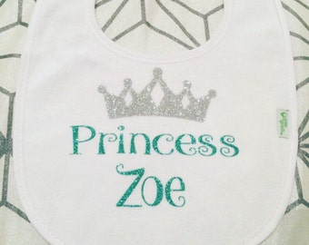 Personalized Princess Bib, Custom Bib, Baby Girl Bib, Crown Bib, White, Baby Girl Gift, Newborn Gift, Baby Accessories,