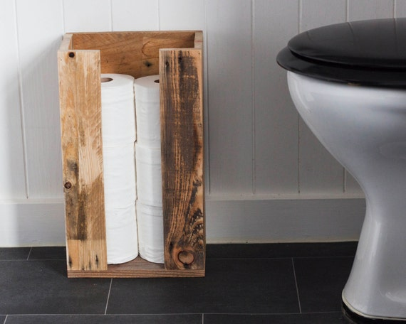 Toilet roll storage reclaimed wood bathroom storage for Storage for toilet rolls