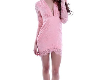Coral Pink Lace Dress with Plunging Neckline & Open Back