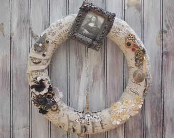 Door, Wreath, France, Paris, Picture, Parisian, Black, Taupe, Jewels, Mona Lisa
