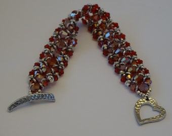 Red Crystal and Silver Bead Woven Bracelet