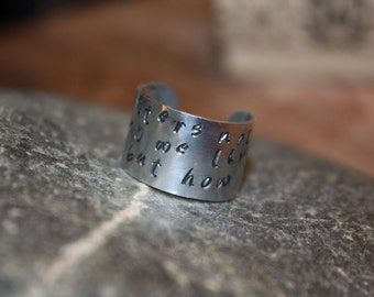 Custom Gift, Personalized Ring Band - Hand-Stamped Metal, Patina or Black Letter Finish, Polished Band, Gifts for Him or Her