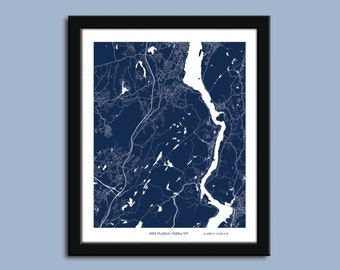 Hudson River Valley map, Hudson River Valley city map art, Hudson River Valley wall art poster, Hudson River Valley decorative map