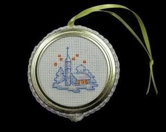 Cross Stitch Church Ornament
