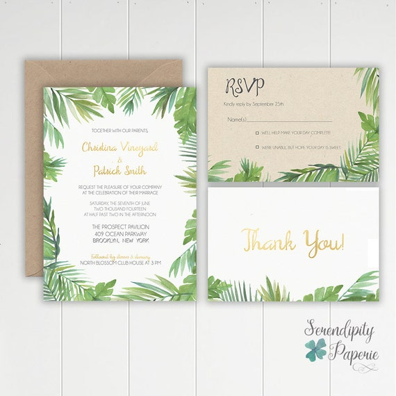 Tropical Wedding Invitations: Tropical Watercolor Palm Leaf Wedding Invitation Stationery