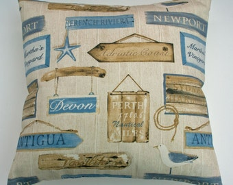 """Beach Seaside Design  Blue Beige Brown Decorative with Driftwood and Seagulls Home Decor Cushion Cover 16"""" / 40cm"""