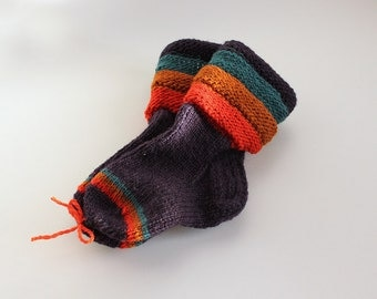 Kid's wool socks, green-blue,dark blue, ochre,red colours