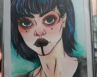 10x7in original art watercolour portrait gothic tattoo ink painting