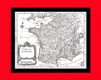 Get 1 Free Print *_* Old Map France 1764 - Ancient Map Wall Art Antique Map Poster Home Decor Old Map Prints Map Of France Map French Map