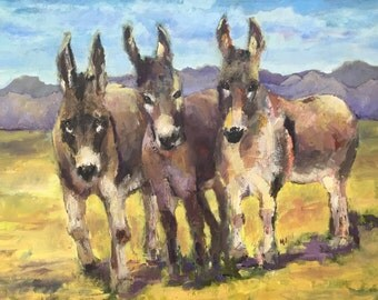 Burros standing on plains, mountains in background.  18 x 24 original oil