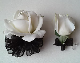 Black and White Corsage and Boutonniere Set-Wedding Flowers-Prom Flowers-Homecoming Corsage and Boutonniere