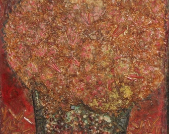 Vintage still life flowers oil collage painting