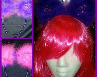 Purple and hot pink marabou feather alice in wonderland Cheshire cat rhinestone cat ears ribbon head band - head piece!