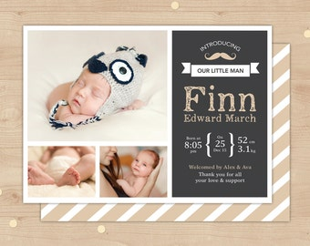 Moustache Boy Birth Announcement (Digital File) // For you to print // Introducing our little man // Chalkboard baby boy birth announcement