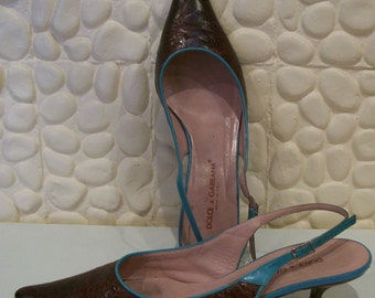 ON SALE Dolce and Gabbana two tone faux lizard kitten heel shoes 9