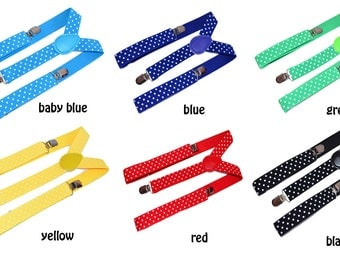 Colored Suspenders with dots for baby, kids ,children, wedding , ringbearder outfit