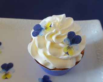 Edible Violas, Johnny Jump-Ups, Wafer Paper Toppers for Cakes, Cupcakes or Cookies