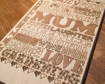 Mum Chopping / Cutting Board Solid Birch Mothers Day personalised gift kitchen baker cooking word art