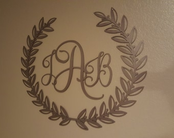 Wreath With Monogram Initials (Home Decor, Wall Art, Metal Art, {Can Be Personalized})