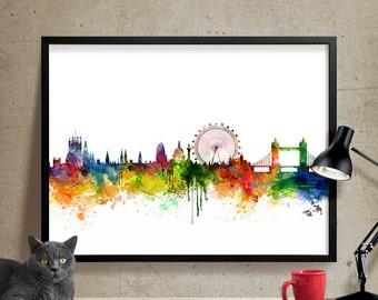London skyline, London watercolor, London poster, London watercolor print, Art, Wall art, London poster, Home Decor, London Cityscape (05)