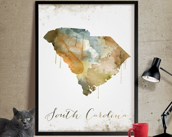 South Carolina Wall Art, Art Print South Carolina Decor, South Carolina Map Art, Watercolor State, Watercolor South Carolina Print Art (298)